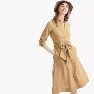 J Crew cotton poplin Tie Waist Shirt Dress khaki
